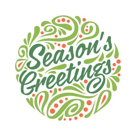 season's greeting: Holidays greeting card with abstract doodle Christmas ball. Colorfull vector  illustration. Seasons greeting