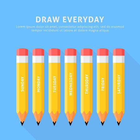 colour pencil: Vector illustration of seven pencils for everyday. Flat style on a blue background