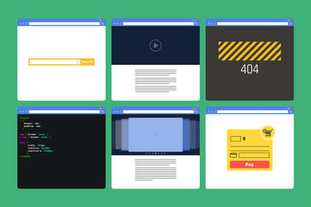 slideshow: Set of Flat Style browser windows with content. Page 404, page code, form paymen, photo slideshow, search bar, video player Illustration