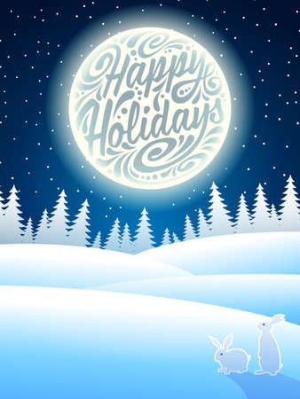 happy holidays: Christmas background with snowflakes, moon, hares and typographic lettering. Happy Holidays