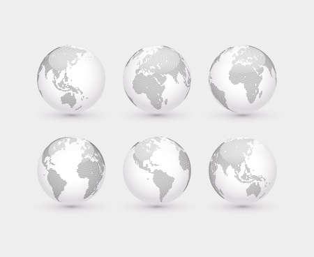 bola del mundo: Conjunto de globos de trazos abstractos. Seis globos, incluyendo una vista de América, Asia, Australia, África, Europa y el Atlántico