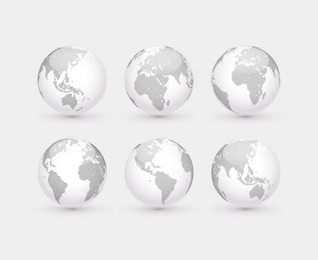 Set of abstract dotted globes. Six globes, including a view of the Americas, Asia, Australia, Africa, Europe and the Atlantic Vettoriali