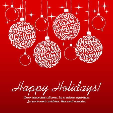 happy holidays text: Set of Christmas balls, calligraphic elements. illustration