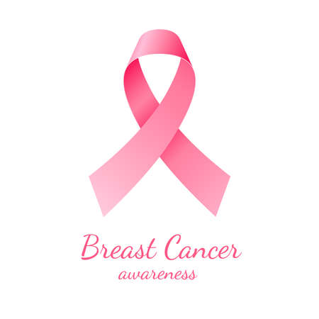 Pink ribbon, breast cancer awareness symbol on white background