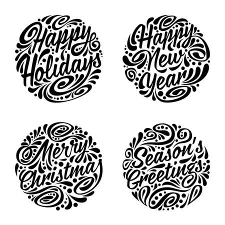 happy holiday: Set of Christmas calligraphic elements. illustration Illustration