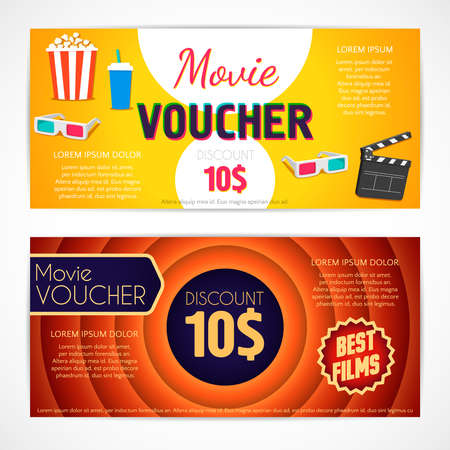 picture card: Discount voucher movie template, cinema gift certificate, coupon template. design