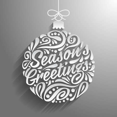 greeting season: Holidays greeting card with abstract doodle Christmas ball. illustration. Season greeting Illustration
