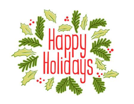 幸せな休日ビンテージ グリーティング カード ジョリーとクリスマス ツリーの枝を持つ。図 写真素材 - 48546853