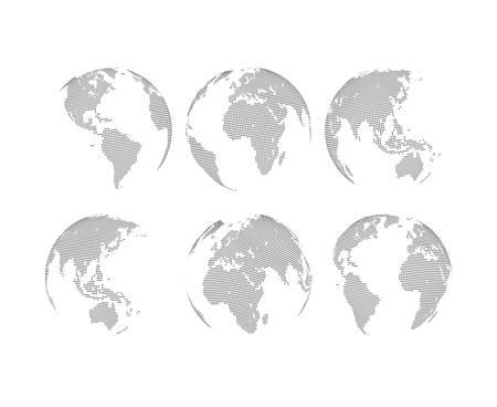 europa: Conjunto de globos de trazos abstractos. Seis globos, incluyendo una vista de América, Asia, Australia, África, Europa y el Atlántico