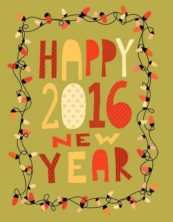 Happy 2016 new year card with garland. illustration Illustration