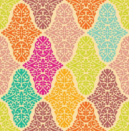 Vector colorfull seamless damask pattern. Ornate vintage background Vettoriali