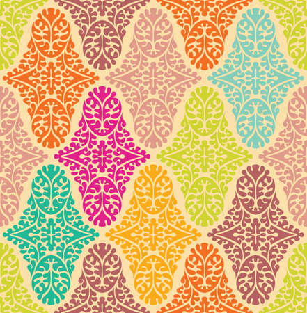 Vector colorfull seamless damask pattern. Ornate vintage background