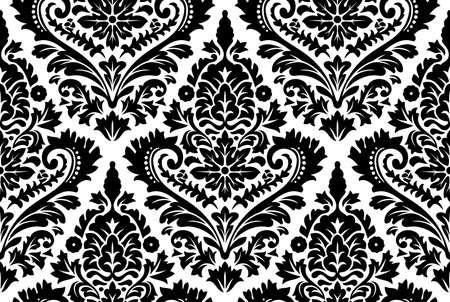 barroco: Vector patrón de damasco sin fisuras. Fondo adornado vendimia