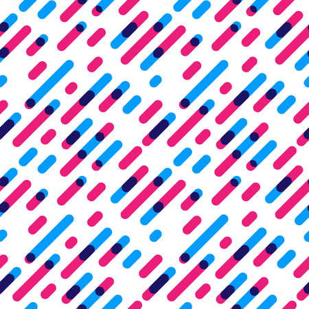 Seamless Pattern Overlap Diagonal Graphic Stripes with Round Corners. Vector illustration Illustration