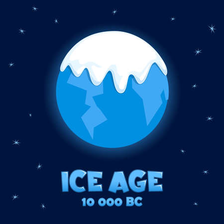 cartoon globe: Planet Earth in the Ice Age. Vector illustration