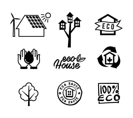 eco home: Set icons eco home, saving energy and water, garbage recycling. illustration