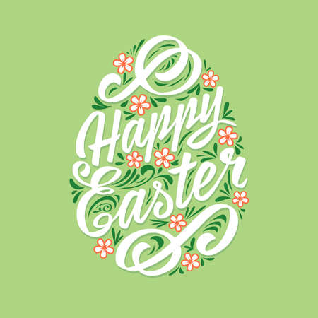 Happy Easter greeting Card, Lettering. Typography Inscription Çizim