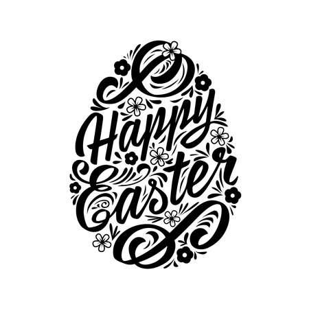 Tarjeta de felicitación de Pascua feliz, letras. La inscripción de la tipografía