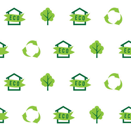 green environment: Seamless pattern eco house, green tree, recycling, ecology. illustration Illustration