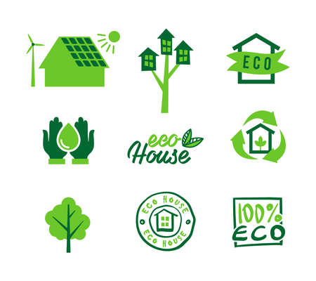 energy save: Set icons eco home, saving energy and water, garbage recycling. illustration