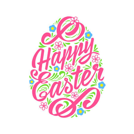 cartoon easter: Happy Easter greeting Card, Lettering. Typography Inscription Illustration