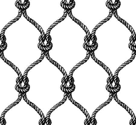 tied: Rope seamless tied fishnet pattern. Vector illustration Illustration
