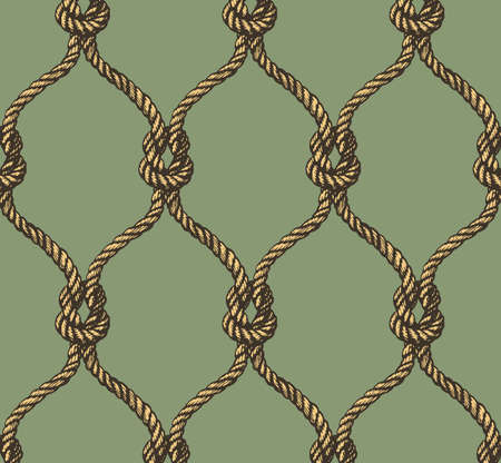 fishnet: Rope seamless tied fishnet pattern. Vector illustration Illustration