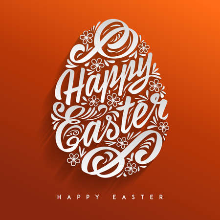 greeting card: Happy Easter greeting Card, hand-drawing Lettering. Vector Typography Inscription