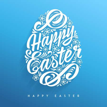 glücklich: Fröhliche Ostern Grußkarte, Handzeichnung Beschriftung. Vector Typografie Inschrift