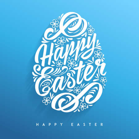 cartoon easter: Happy Easter greeting Card, hand-drawing Lettering. Vector Typography Inscription