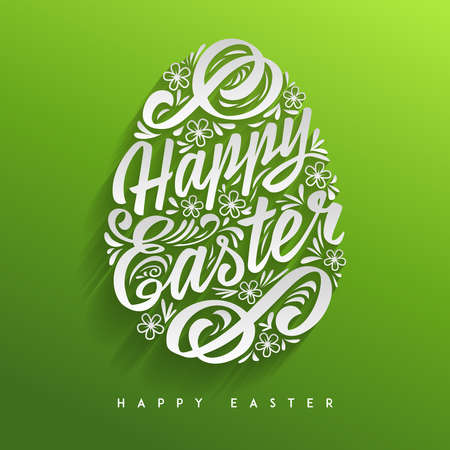Happy Easter greeting Card, hand-drawing Lettering. Vector Typography Inscription