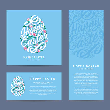 floral elements: Set of Happy Easter greeting Cards, hand-drawing Lettering. Vector illustration. Different sizes