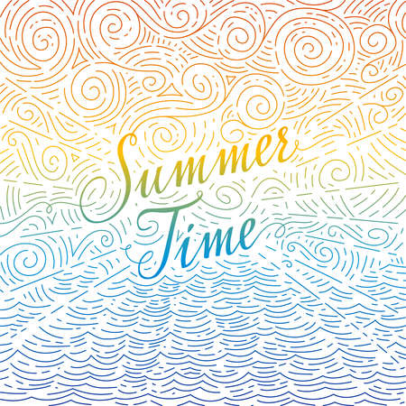 Summertime. phrase on an abstract background of sea and sky. Colorful doodles. illustration