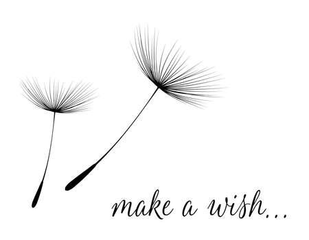 Machen Sie einen Wunsch-Karte mit Löwenzahn Flaum. Illustration Vektorgrafik