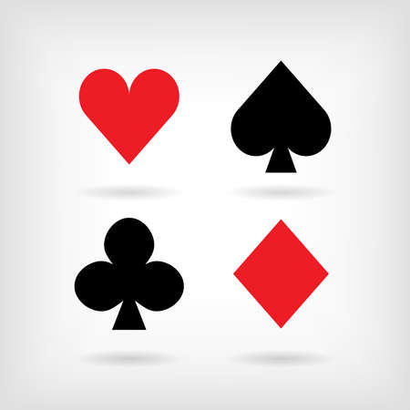 Set of symbols of playing cards suit with shadows. illustration