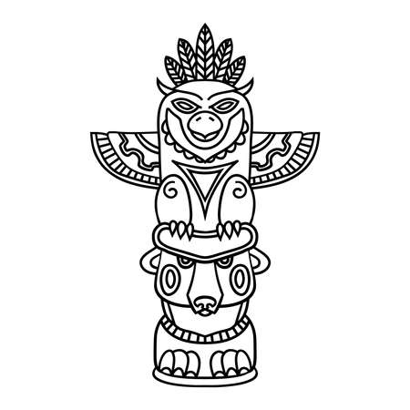 the totem pole: Doodle Traditional Tribal Totem Pole isolated on white background, coloring book. Black and white illustrations