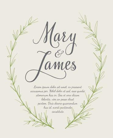 Wedding Invitation with  laurel wreaths. Vintage design. illustration Vectores
