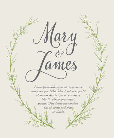 Wedding Invitation with  laurel wreaths. Vintage design. illustration Çizim