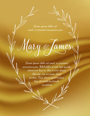 wedding invitation vintage: Wedding Invitation with laurel wreaths on gold background. Vintage design. illustration Illustration