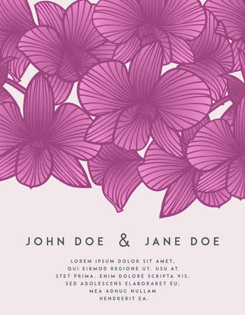orchid: Elegant wedding invitation with orchid flowers. Perfect for wedding or announcements, mothers day, valentines day, birthday cards. Floral pattern. Stylized drawing of orchids. Vector orchid Illustration