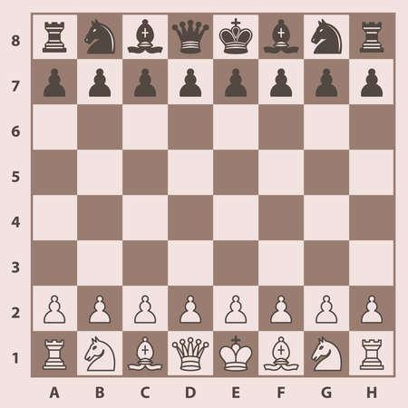 체스 판에 체스 조각입니다. 벡터 일러스트 레이 션