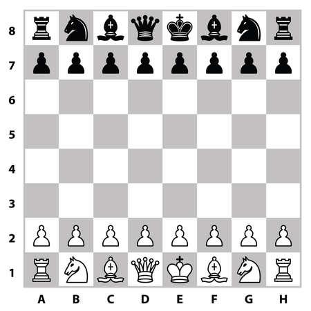 Schachfiguren auf einem Schachbrett. Vektor-Illustration Vektorgrafik