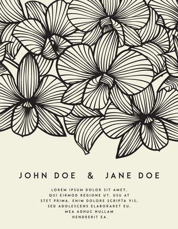 Elegante Hochzeitseinladung mit Orchidee blüht. Perfekt für Hochzeit oder Ankündigungen, muttertag, valentinstag, Geburtstagskarten. Blumenmuster. Stilisierte Zeichnung von Orchideen. Vector Orchidee Vektorgrafik