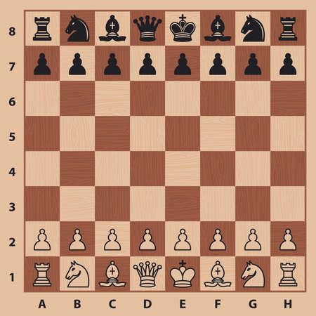 Schaakstukken op een schaakbord. vector illustratie