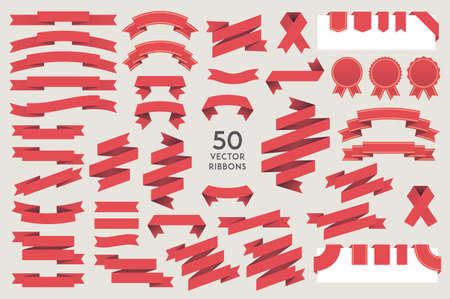 Vector Ribbons. Set of 50 ribbons