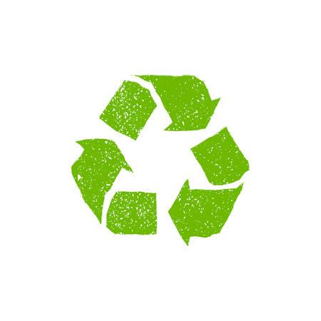 logo recyclage: Signe vecteur recyclage. Grunge logo de recyclage avec une texture �rafl�s et fine