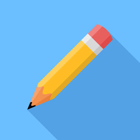 pencil symbol: Pencil. Flat Design vector icon. Pencil on blue background with shadow