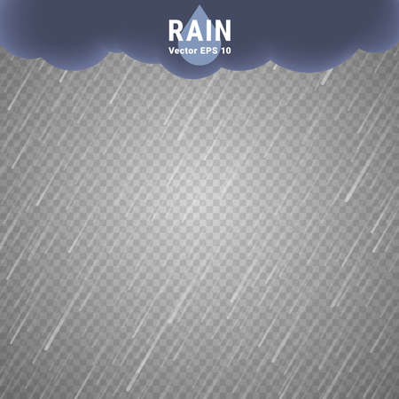 atmospheric: Transparent Rain Image. Vector Rainy Cloudy background Illustration