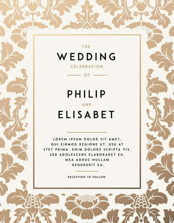 Vintage Wedding Invitation template. Modern design. Wedding Invitation design with damask background. Tradition decoration for wedding. Vector illustration