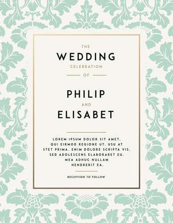 빈티지 결혼식 초대 템플릿입니다. 현대적인 디자인. 다마 배경으로 결혼식 초대 디자인입니다. 결혼식을위한 전통 장식입니다. 벡터 일러스트 레이 션